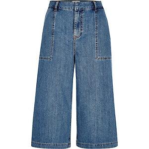 Mid blue wash denim culottes