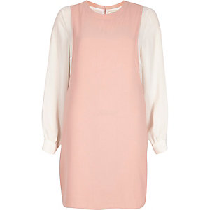 Pink contrast long sleeve pinafore dress