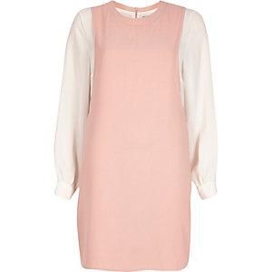 Pink contrast long sleeve pinafore dress