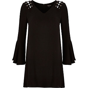 Black eyelet fluted sleeve swing dress