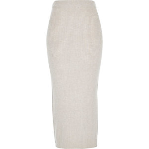 Oatmeal beige knitted ribbed midi tube skirt