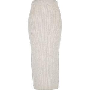 Oatmeal beige knitted ribbed midi tube skirt