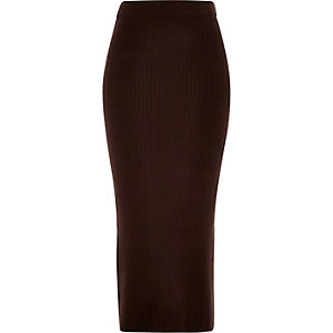 Chocolate brown knitted midi tube skirt