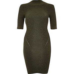 Khaki metallic knitted ribbed bodycon dress
