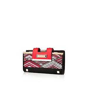 Red printed clip top purse