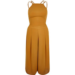 Dark yellow strappy cropped jumpsuit