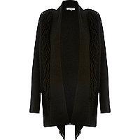 Black fringed knitted cardigan