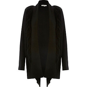 Black fringed knitted cardigan