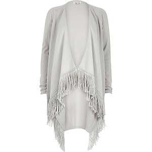 Light grey tassel trim cardigan