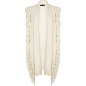 Cream knitted fringed sleeveless cardigan