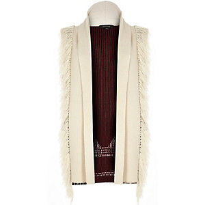 Cream knitted contrast back fringed cardigan