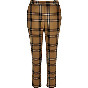 Tan check tapered trousers