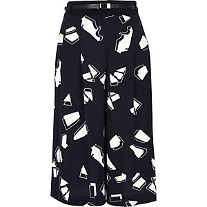 Navy printed smart culottes