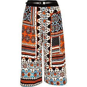 Orange paisley print culottes