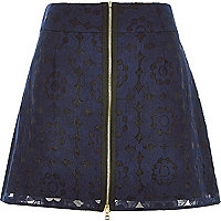 Navy lace zip front A-line skirt