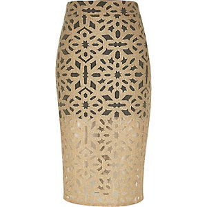 Beige woven lace layer pencil skirt