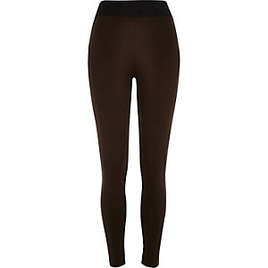 Dark brown high waisted leggings