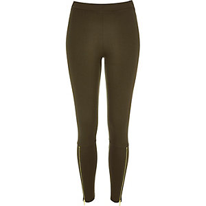 Khaki premium high waisted zip leggings