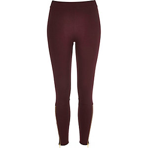 Red premium high waisted zip leggings