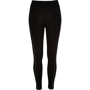 Black white stitch leggings