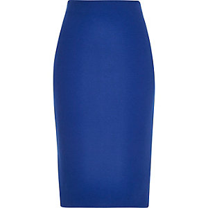 Bright blue zip back pencil skirt