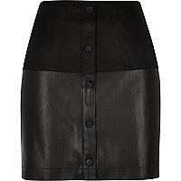 Black faux-suede button-up mini skirt