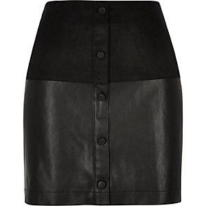 Black faux-suede button-up mini skirt
