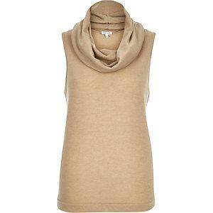 Beige cowl neck sleeveless top