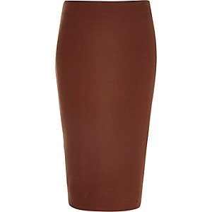 Rust brown zip back pencil skirt