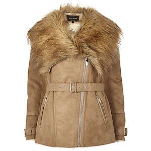 Camel faux suede belted jacket