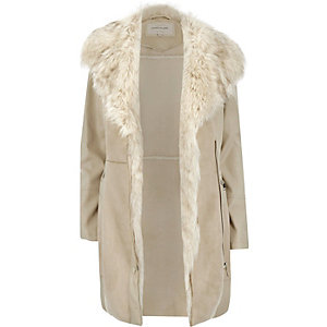 Cream faux suede winter coat