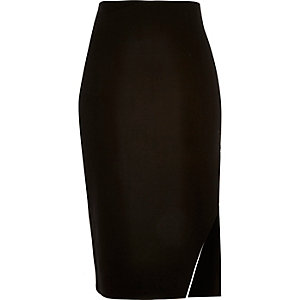 Black side zip pencil skirt