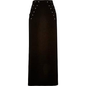 Black jersey eyelet maxi skirt
