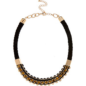 Gold tone gem woven statement necklace
