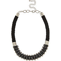 Black gem woven statement necklace