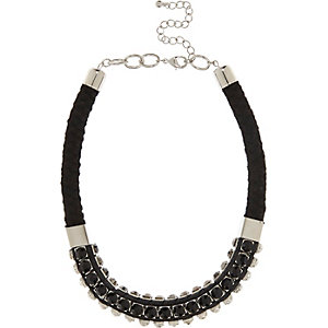 Black gem woven statement necklace