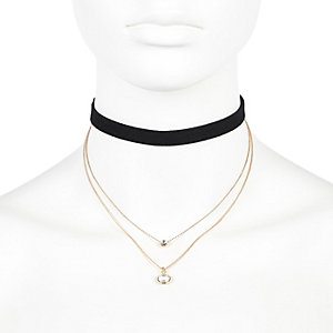 Black multi row choker necklace