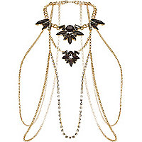 Gold tone embellished body harness