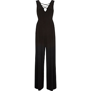 Black lace-up wide leg jumpsuit