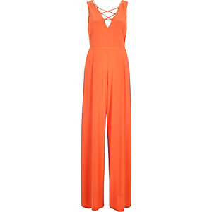 Orange lace-up wide leg jumpsuit