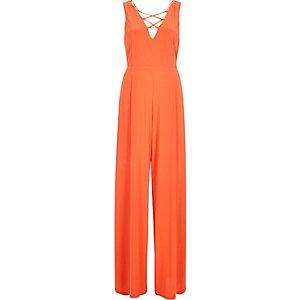 Orange lace-up wide leg jumpsuit