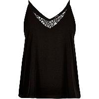 Black lace panel V-neck cami