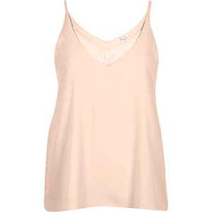 Pink lace panel V-neck cami