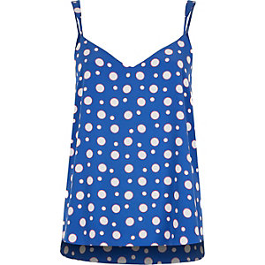 Blue spotty V-neck cami top