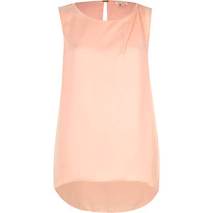 Pink draped curved back vest