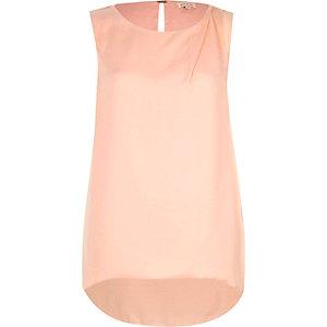 Pink draped curved back vest