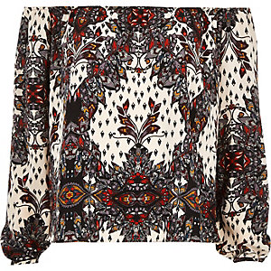 Red paisley print slit sleeve bardot top