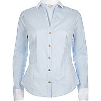 Blue stripe fitted shirt