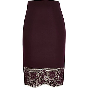 Dark red lace hem pencil skirt