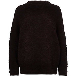 Dark purple soft knitted jumper